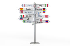 Signpost with names of countries, 3D rendering isolated on white. Signpost with names of countries, 3D rendering on white background Stock Photo
