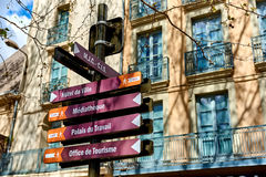 Signpost in the Narbonne street. France Royalty Free Stock Image
