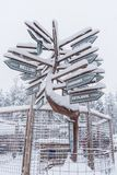 Signpost near Rovaniemi in Lapland, Finland stock photos