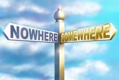 Signpost in nessun posto in qualche luogo Fotografia Stock Libera da Diritti