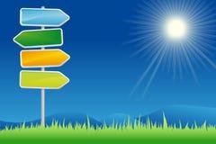 Signpost no campo do verão Imagens de Stock