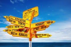 Signpost no ponto de Stirling, blefe, Nova Zelândia Fotografia de Stock