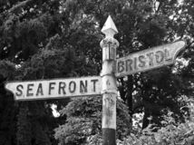 Signpost. An old, rusted signpost in Weston-super-Mare, UK royalty free stock photo