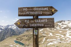 Signpost in the Ordina Arcalis area in the Pyrenees in Andorra. Between France and Spain Royalty Free Stock Image