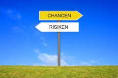 Signpost showing Reward and Risk german royalty free stock image