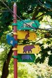 Signpost på zooen Arkivbild