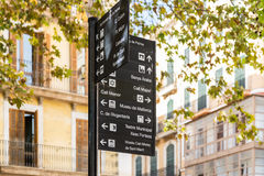 Signpost - Palma famous sights Royalty Free Stock Images