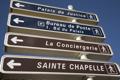 Signpost in Paris. With directions to famous sites Royalty Free Stock Images