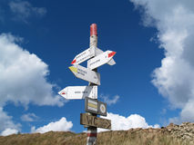 Signpost in the path in Bieszczady mountains, Poland Stock Image