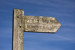 Signpost Pen y Ghent Hill. Signpost to Pen y Ghent Hill, in the Yorkshire dales , malhamdale , England Stock Photography