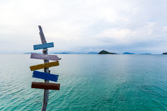 Signpost. On pier in tropical sea at koh mak island,Thailand royalty free stock images