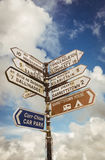 Signpost for places in cork Ireland Royalty Free Stock Images
