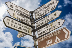 Signpost for places in cork Ireland. Against cloudy blue sky Royalty Free Stock Photography