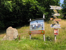 Signpost and plaque Jugendtag at Hohen Meissner, Hessen, Germany Stock Image