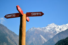 Signpost pointing into all cardinal directions Royalty Free Stock Image