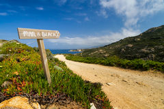 Signpost pointing to the beach at La Revellata in Corsica. Wooden painted Signpost pointing to the beach at La Revellata near Calvi in Corsica royalty free stock photos