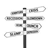 Signpost pointing to crisis. Crisis-related names on a signpost pointing in every direction Stock Image