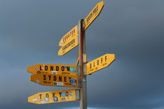 Signpost pointing way and distances to major world cities. Royalty Free Stock Images