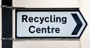 Signpost points right to a Recycling Centre Stock Image