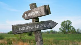 Signpost on the popular Elbe Cycle Route royalty free stock images
