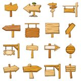 Signpost road wooden icons set, cartoon style. Signpost road wooden icons set. Cartoon illustration of 16 signpost road wooden vector icons for web Stock Image