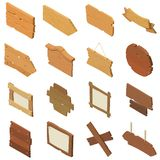 Signpost road wooden icons set, isometric style. Signpost road wooden icons set. Isometric illustration of 16 signpost road wooden vector icons for web Royalty Free Stock Images