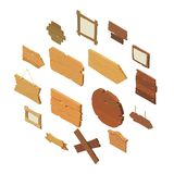 Signpost road wooden icons set, isometric style. Signpost road wooden icons set. Isometric illustration of 16 signpost road wooden vector icons for web Stock Photos