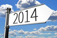2014, signpost, roadsign, idea, concept, direction Stock Photography
