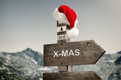 Signpost with Santa Hat Stock Images