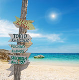 Signpost by the sea. Wooden signpost in a tropical beach Royalty Free Stock Photos