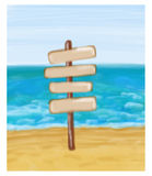 Signpost in the seashore and sea. Royalty Free Stock Photo