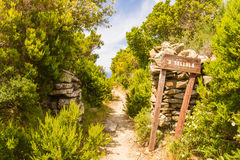 Signpost for A Sellula near Nonza in Corsica Royalty Free Stock Image
