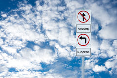 Signpost show direction to success and failure Royalty Free Stock Photos