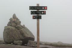 Signpost showing direction to Kjerag, Norway stock image