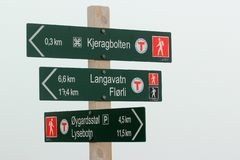 Signpost showing direction to Kjeragbolten, Norway royalty free stock images