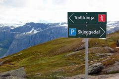Signpost showing direction to Trolltunga, Norway stock image
