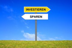 Signpost showing Invest or Safe Money german. Signpost outside is showing Invest or Safe Money in german language Royalty Free Stock Photography