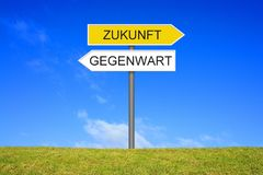 Signpost showing Present and Future german. Signpost outside is showing Present and Future in german language Stock Photography