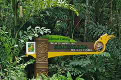 Signpost-signboard of the Sarawak Forestry againts of green tropical trees, Malaysia stock photo