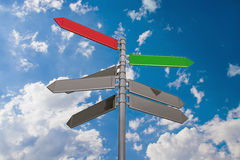 Signpost and sky and clouds. Single signpost on rich blue sky with shiny clouds background Stock Photography