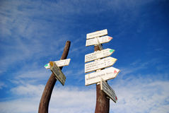 Signpost. The signpost and the sky near Broumov, Czech Republic Royalty Free Stock Photography