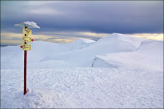 The signpost. On the slope of a Carpathian mountain Stock Photos