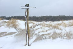 Signpost in the snow storm Royalty Free Stock Image