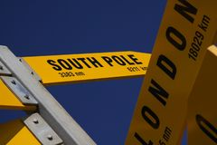 Signpost South Pole stock image