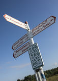 Signpost specialy for cyclist in the Netherlands Stock Photos