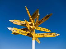 Signpost in Sterling point Bluff. South island of New Zealand stock photo