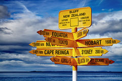 Signpost in the Stirling Point, Bluff, New Zealand. Most southern mainland point of New Zealand Stock Photos