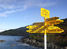 Signpost in the Stirling Point, Bluff, New Zealand. Most southern mainland point of New Zealand Stock Image