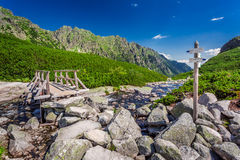 Signpost by the stream in Tatra Mountains Stock Photo