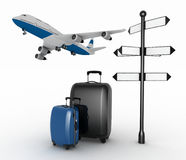 Signpost, suitcases and airplane. Travel concept. Royalty Free Stock Photo